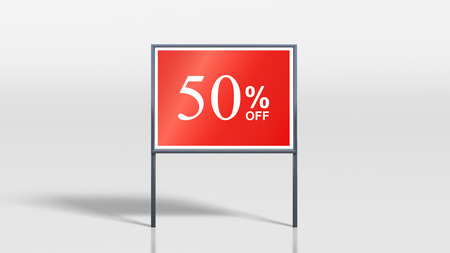 3d render of shop signage stands 50 percent off sign Stock Photo - 30072589