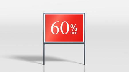 attention grabbing: 3d render of shop signage stands 60 percent off sign