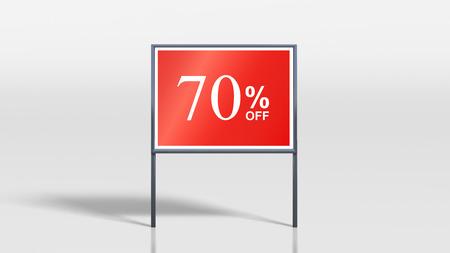 attention grabbing: 3d render of shop signage stands 70 percent off sign