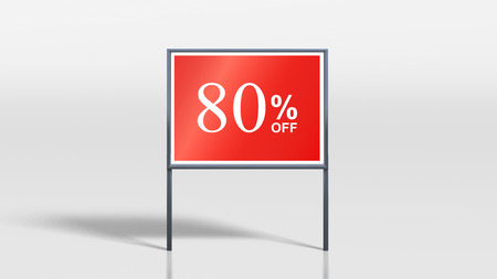 attention grabbing: 3d render of shop signage stands 80 percent off sign Stock Photo