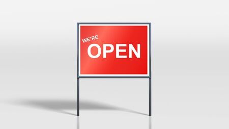 shop opening hours: 3d render of We are Open Sign on metal signage