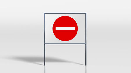 no entry: 3d render of traffic signage stands no entry Stock Photo