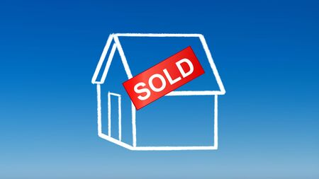 the drawing of house sold for investment concept with blue sky background photo