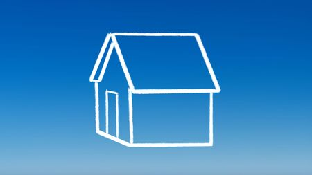 the drawing of house outline for investment concept with blue sky background photo