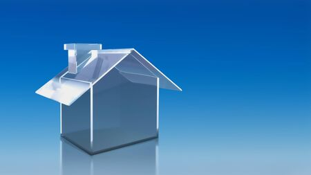 The 3D render image of investment glass house with blue sky background photo