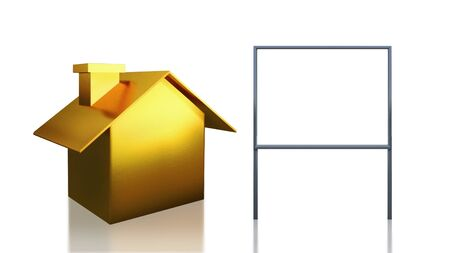 The 3D render image of investment gold  house and blank sign photo