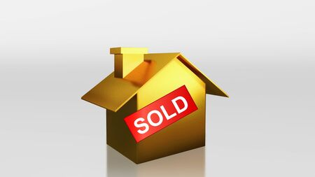 The 3D render image of investment gold house sold label photo