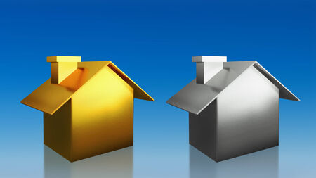 The 3D render image of investment gold and silver house compare with blue sky background photo