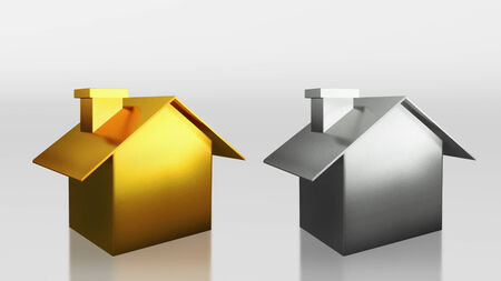The 3D render image of investment gold and silver house compare  photo