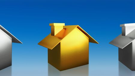 The 3D render image of investment the gold house with blue sky background photo