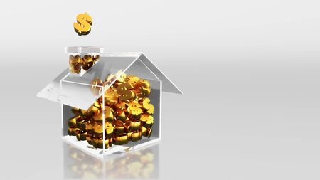 The 3D render image of investment saving dollar sign at house photo