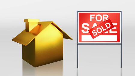 3d render of gold house for sale sold photo