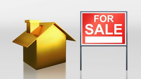 3d render of gold house for sale photo