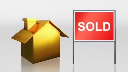 3d render of gold house for sold photo
