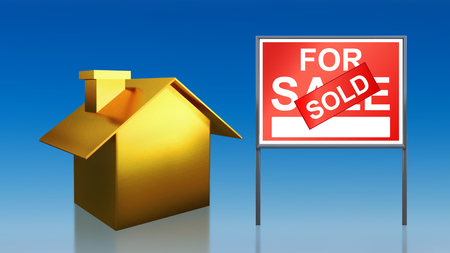 3d render of gold house sky for sale sold photo