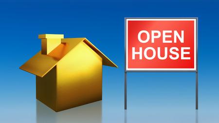 open huis: 3D render van goud huis hemel open huis