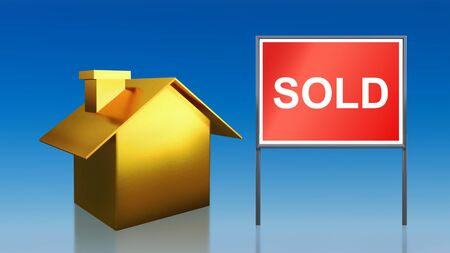 3d render of gold house sold sky photo