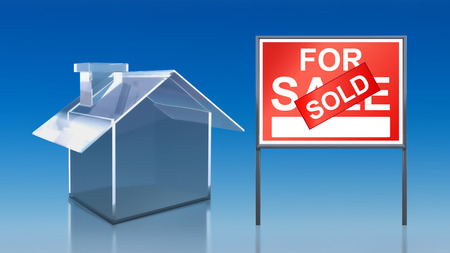 3d render of investment blue glass house for sale sold photo
