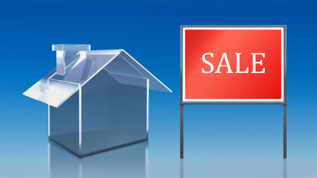 3d render of investment blue glass house sale photo