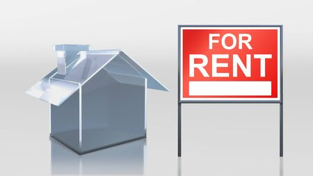 for rent sign: 3d render of investment glass house for rent
