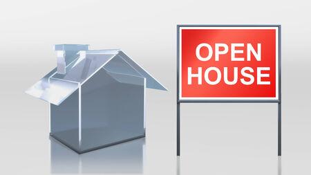 open huis: 3D render van de investeringen glazen huis open huis