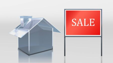 3d render of investment glass house sale  photo