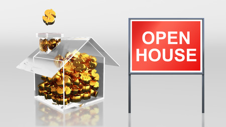 3d render of investment saving dollar open house photo
