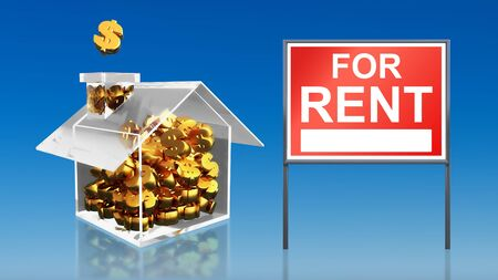 for rent sign: 3d render of investment saving money at house for rent sky