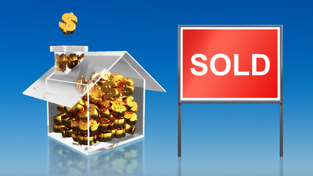 3d render of investment saving money at house sold blue sky photo
