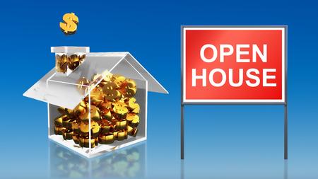 open huis: 3D render van de investering geld te besparen open huis hemel Stockfoto