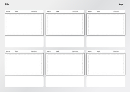 Professional of film storyboard template for easy to present the process of story. 矢量图像