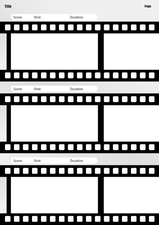 storyboard: Professional of film storyboard template for easy to present the process of story. Illustration