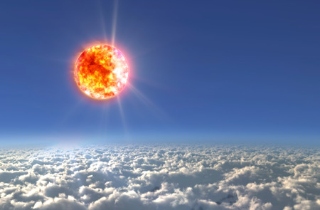 Solar Sun in the sky of space background photo