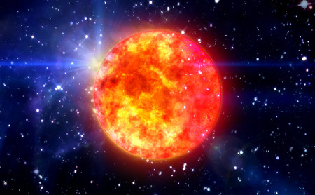 clear day in winter time: Solar Sun in the space night background