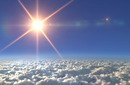 clear day in winter time: Solar Sun in the sky of space background