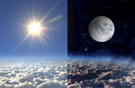 clear day in winter time: Sun and moon of day and night seperate screen concept