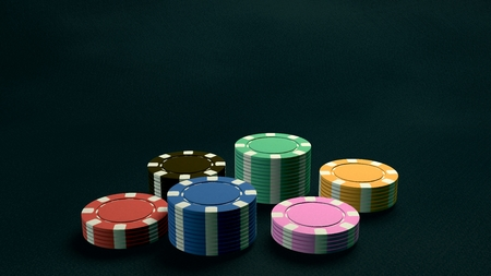 richer: The 3d rendering of difference coloured casino chips