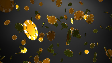 The 3d rendering of many casino chips falling