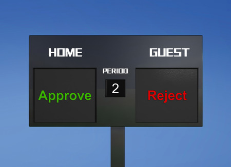 scoreboard: approve reject scoreboard display the goal result Stock Photo
