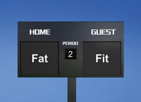 scoreboard: fat and fit scoreboard display the goal result