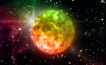 clear day in winter time: color orange planet in the space night background