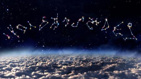 zodiac sign of beautiful bright stars on night sky background