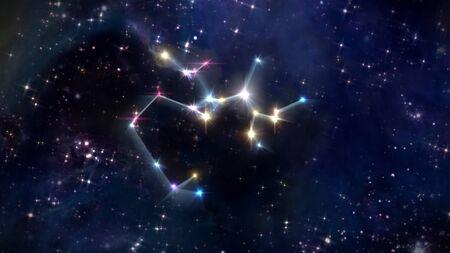 sagitario: signo zodiacal de hermosas estrellas brillantes en fondo del cielo nocturno