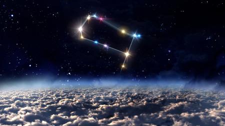 night sky: zodiac sign of beautiful bright stars on night sky background