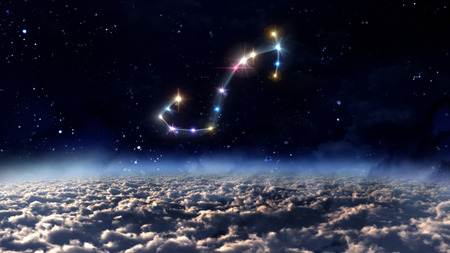 month: zodiac sign of beautiful bright stars on night sky background