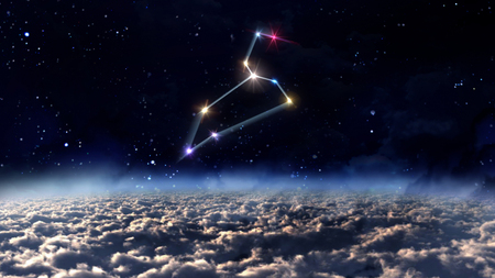 stars night: zodiac sign of beautiful bright stars on night sky background