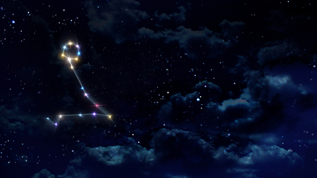 pisces sign: zodiac sign of beautiful bright stars on night sky background