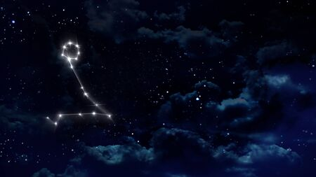 pisces sign: zodiac sign of the beautiful bright stars on night sky background