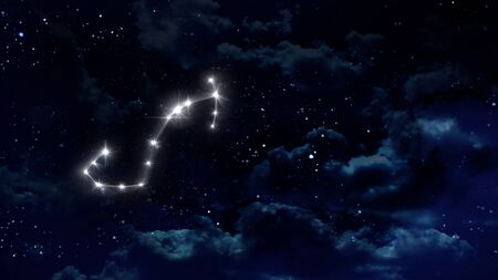 months: zodiac sign of the beautiful bright stars on night sky background