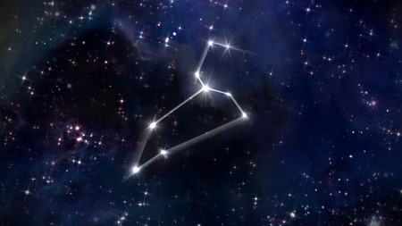 the zodiac sign of the beautiful bright stars on the background night sky Stock Photo